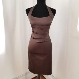 Brown Ruched Halter Cocktail Dress